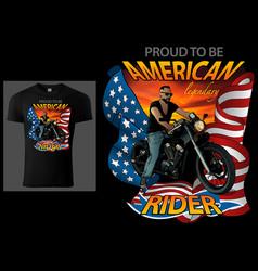 T-shirt design american rider vector