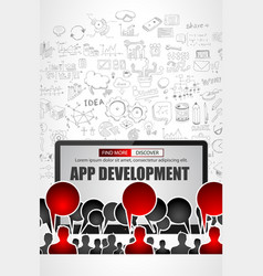 team app development concept with business doodle vector image