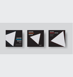 Template black square web banners with vector