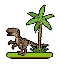 trex dinosaur on forest cartoon vector image