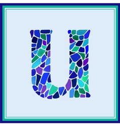 U - letter - Green Watercolor mosaic vector image
