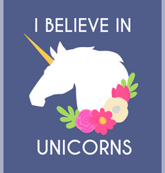 unicorn with horn and flowers i believe vector image
