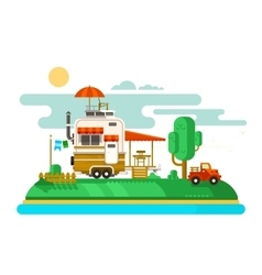 Vacation trailer flat design vector image