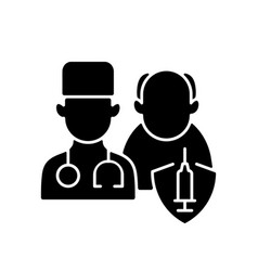 Vaccination priority list black glyph icon vector