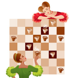 Vintage girls playing chess coffee or tea cups vector