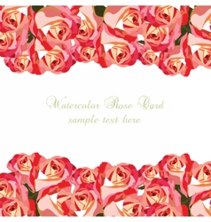 Watercolor Pink Roses card vector image