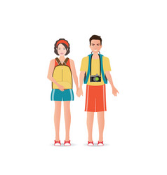 couple travelers with luggage on white background vector image vector image