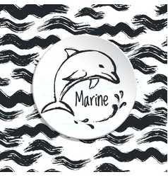 ink hand drawn marine background vector image vector image