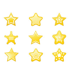shiny star icons set vector image vector image