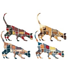 Sniffing cat mosaics vector image vector image
