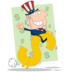 Waving Uncle Sam Riding A Dollar Symbol vector image vector image