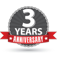 Celebrating 3 years anniversary retro label with vector image vector image