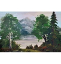 Landscape Trees and Lake vector image vector image