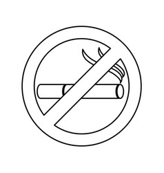 monochrome silhouette of sign no smoking icon vector image
