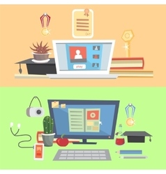 Set education online education online learning vector image vector image