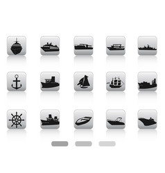 ship boat icon buttons set vector image