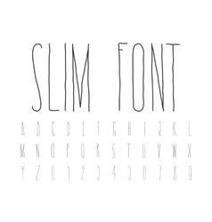 Simple decorative font handwritten slim alphabet vector image vector image