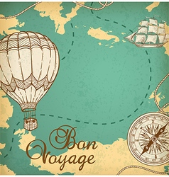 Vintage map with sailing vessel and balloon air vector image vector image