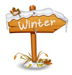 winter wooden arrow board vector image