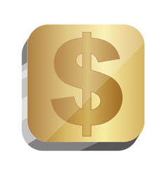 3d button dollar currency symbol vector image