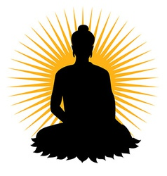 Black buddha silhouette vector image vector image