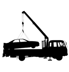 Black silhouette Car towing truck vector image vector image