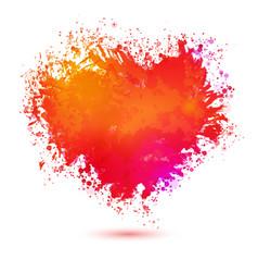 bright colors watercolor heart vector image