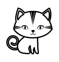 cute cat stripes sitting outline vector image