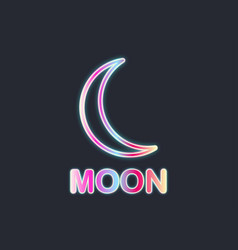 moon neon sign black background vector image vector image