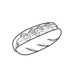 sketch hot dog vector image