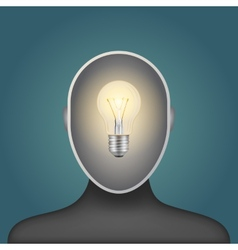 light bulb in a man head vector image