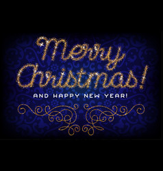 merry christmas lettering gold glitter font vector image vector image