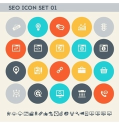 SEO icons set 1 Multicolored square flat buttons vector image
