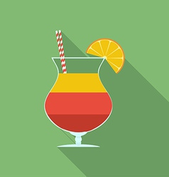 Summer cocktail icon modern flat style with a long vector