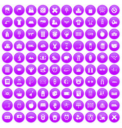 100 alarm clock icons set purple vector