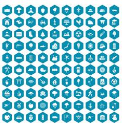 100 tree icons sapphirine violet vector