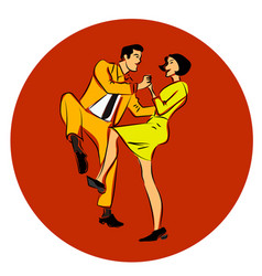 A couple dancing swing vector