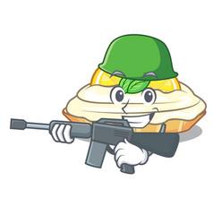 Army cartoon lemon cake with sugar powder vector