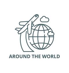 around world line icon around the vector image