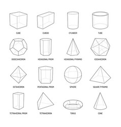 Basic stereometry shapes line set vector