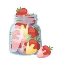 Beautiful red strawberry cream in white chocolate vector image