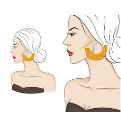 beautiful woman in profile wearing stylish boho vector image
