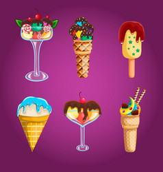 big set of different ice cream vector image