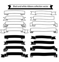 black and white ribbons collection vector image