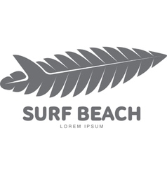 Black white surfing logo template with palm tree vector