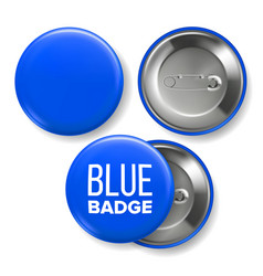 blue badge mockup pin brooch blue button vector image