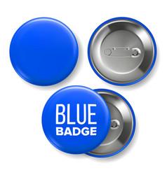 blue badge mockup pin brooch blue button vector image