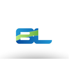 Blue green bl b l alphabet letter logo vector