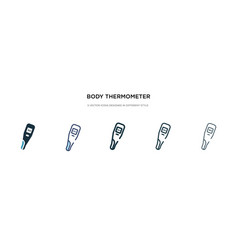Body thermometer icon in different style two vector