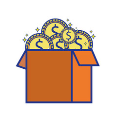 box open with coins cash money vector image